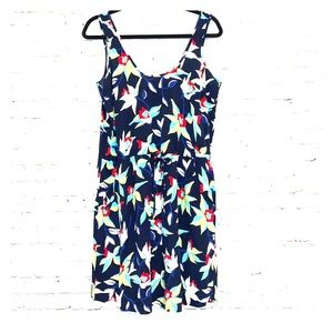 Gap Factory Navy Floral Front Tie Sleeveless Dress